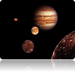 Moons of Jupiter rotating around the planet discovered by Galileo. Galileo called them The Small Copernicus System to base the theory of the planetary rotation around the Sun.
